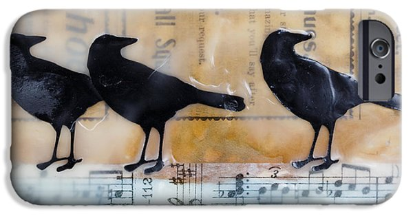 Crows iPhone Cases - Crows Encaustic Mixed Media iPhone Case by Edward Fielding