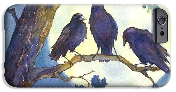 Crows Paintings iPhone Cases - Crows in Moonlight iPhone Case by Peggy Wilson