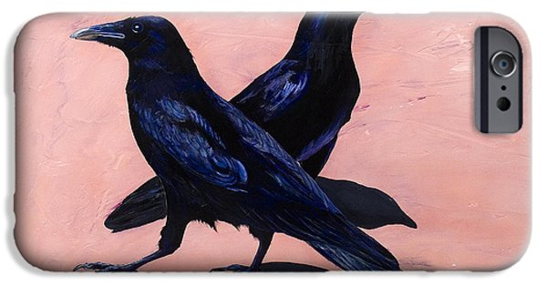 Crows Paintings iPhone Cases - Crows iPhone Case by Sandi Baker