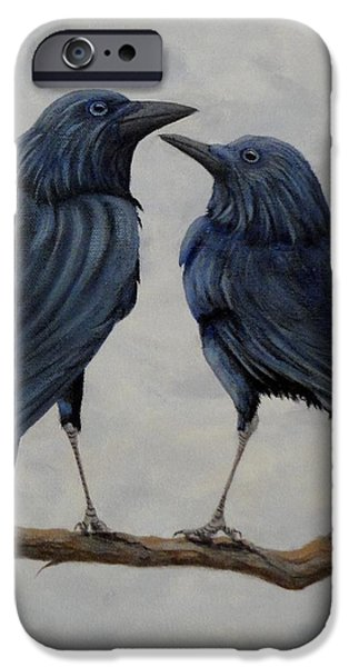 Crow Medicine iPhone Cases - Crows iPhone Case by Xochi Hughes Madera
