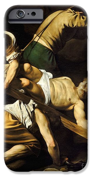Caravaggio Paintings iPhone Cases - Crucifixion Of Saint Peter iPhone Case by Celestial Images