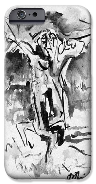 Abstract Expressionist iPhone Cases - Crucifixion iPhone Case by Orhan Ilyas