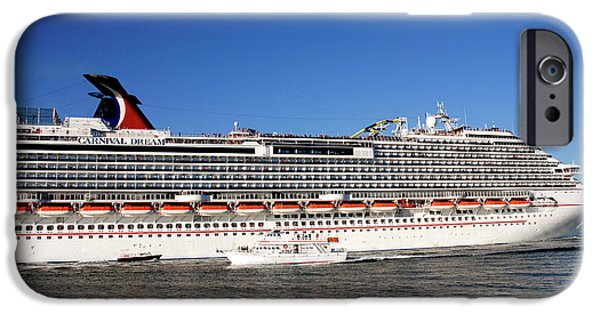 Boat Cruise iPhone Cases - Cruise ship is leaving the port iPhone Case by Susanne Van Hulst