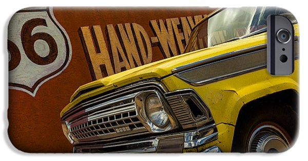 Old Cars iPhone Cases - Cruising Route 66 iPhone Case by Phyllis Webster