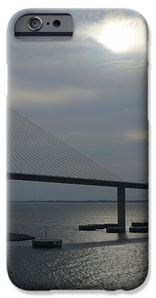 Bay Bridge iPhone Cases - Cruising Under the Skyway iPhone Case by Laurie Perry