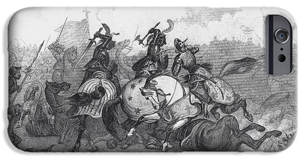 Religious Drawings iPhone Cases - Crusaders And Saracens Fight iPhone Case by Ken Welsh