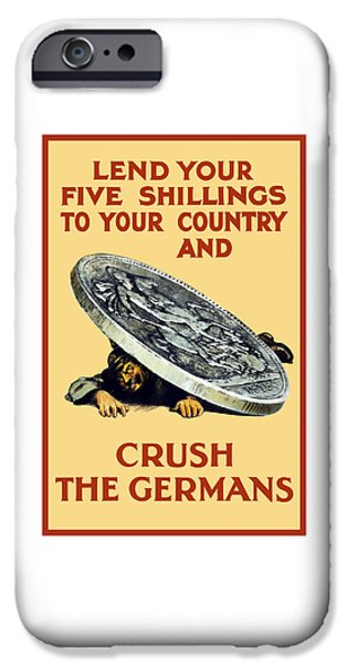 First World War iPhone Cases - Crush The Germans - WW1 iPhone Case by War Is Hell Store