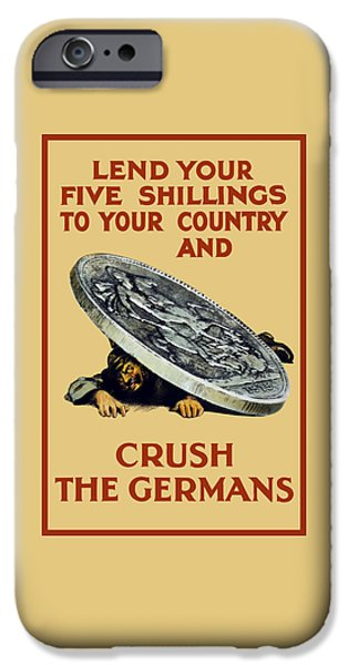 Ww1 iPhone Cases - Crush The Germans - WW1 iPhone Case by War Is Hell Store