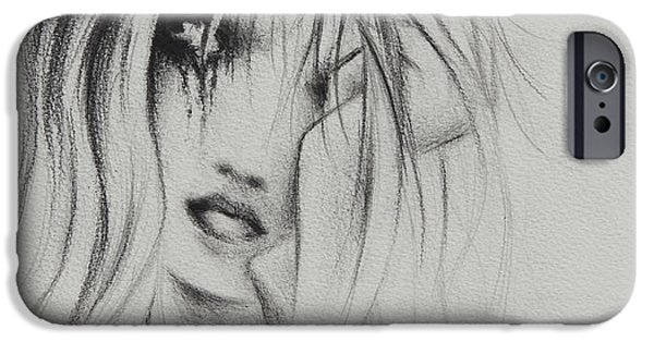 Torn Drawings iPhone Cases - Cry Baby iPhone Case by Rachel Christine Nowicki