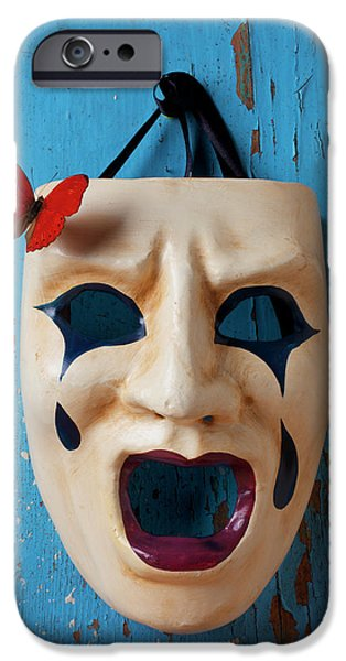 Anger iPhone Cases - Crying mask and red butterfly iPhone Case by Garry Gay