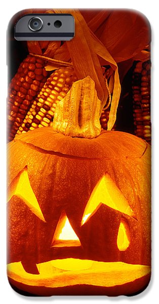 Jack O Lantern iPhone Cases - Crying Pumpkin iPhone Case by Garry Gay
