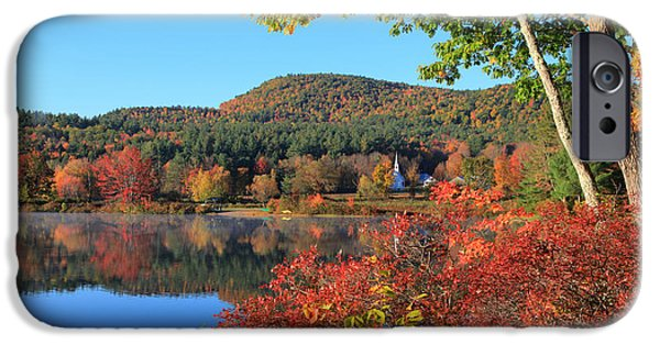 New Hampshire Fall Scenes iPhone Cases - Crystal lake in New Hampshire iPhone Case by Larry Landolfi