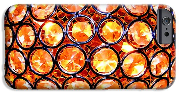 Abstract Digital Photographs iPhone Cases - Crystal Light Fixture iPhone Case by Ed Weidman