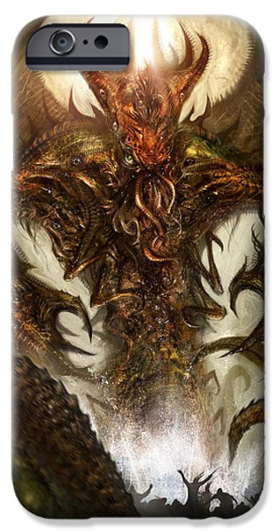 Creature iPhone Cases - Cthulhu Rising iPhone Case by Alex Ruiz