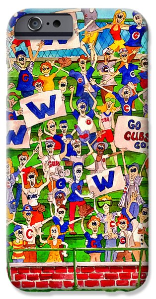 Wrigley Paintings iPhone Cases - Cubs Win iPhone Case by Bill Marsoun