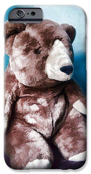 Still Life Tapestries - Textiles iPhone Cases - Cuddly Teddy...stuffed Animal iPhone Case by Tom Druin