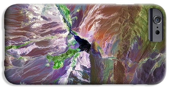 Technical Paintings iPhone Cases - Cuesta del Viento Reservoir Argentina iPhone Case by Elaine Plesser