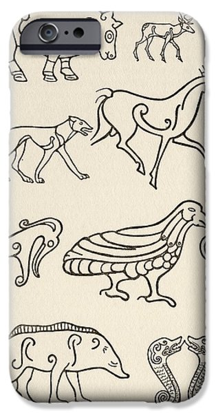 Animal Drawings iPhone Cases - Cult Animals On Scottish Sculptured iPhone Case by Ken Welsh