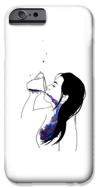 Constellations iPhone Cases - Cup of Galaxy iPhone Case by Lauren Heller