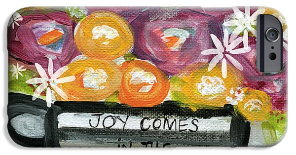 Morning iPhone Cases - Cup Of Joy 2- Contemporary Floral Painting iPhone Case by Linda Woods