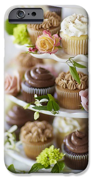 Cake iPhone Cases - Cupcakes And Flowers On Tiered Stand iPhone Case by Gillham Studios