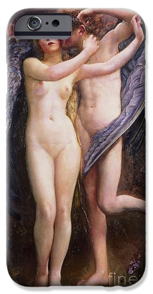Cupid iPhone Cases - Cupid and Psyche iPhone Case by Annie Louisa Swynnerton