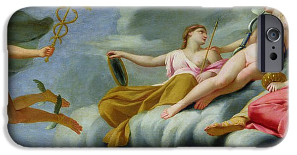Power iPhone Cases - Cupid orders Mercury to announce the Power of Love to the Universe iPhone Case by Eustache Le Sueur