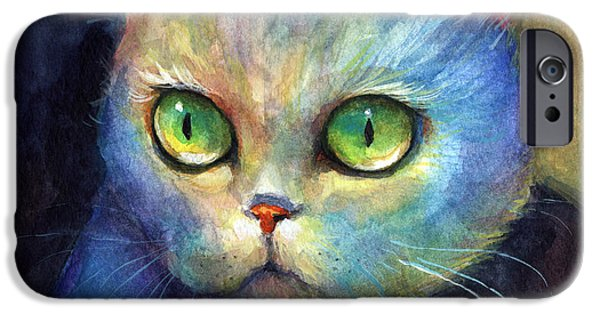 Original Watercolor iPhone Cases - Curious Kitten watercolor painting  iPhone Case by Svetlana Novikova