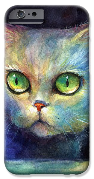 Curious Kitten watercolor painting  iPhone Case by Svetlana Novikova
