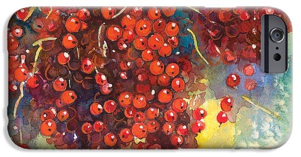 Botanical Drawings iPhone Cases - Currants berries painting iPhone Case by Svetlana Novikova