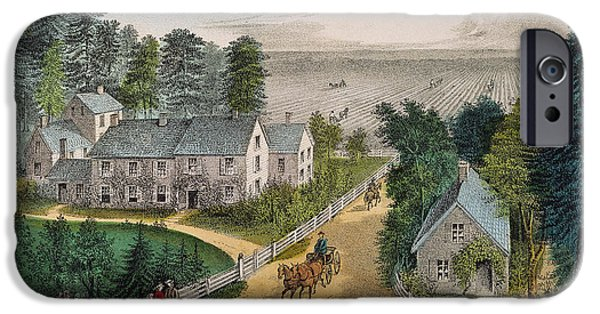 1871 iPhone Cases - Currier & Ives: Farm House iPhone Case by Granger