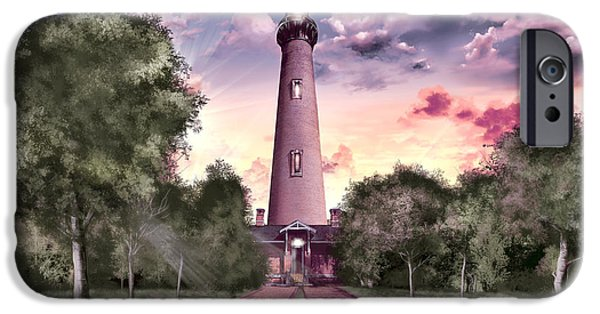 Marine iPhone Cases - Currituck Beach Lighthouse 2 iPhone Case by MB Art factory