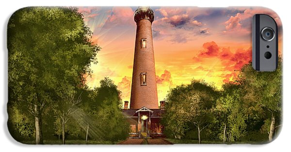 Ocean Sunset iPhone Cases - Currituck Beach Lighthouse 3 iPhone Case by MB Art factory