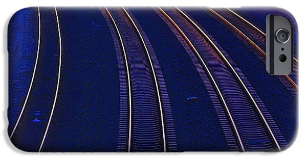 Curve iPhone Cases - Curving Railroad Tracks iPhone Case by Garry Gay