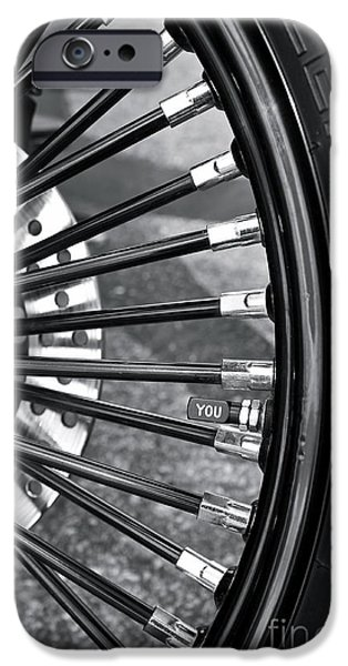Monotone iPhone Cases - Custom Harley Spokes iPhone Case by Linda Bianic