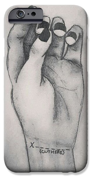 Disorder Drawings iPhone Cases - Cut Here iPhone Case by Brianna Bishop