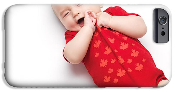 Cut-outs iPhone Cases - Cute baby boy yawning iPhone Case by Oleksiy Maksymenko