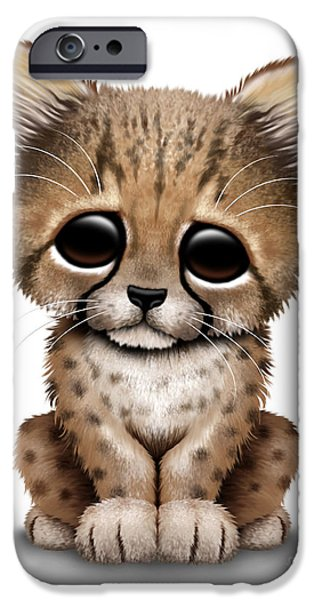 Cheetah Digital Art iPhone Cases - Cute Baby Cheetah Cub iPhone Case by Jeff Bartels