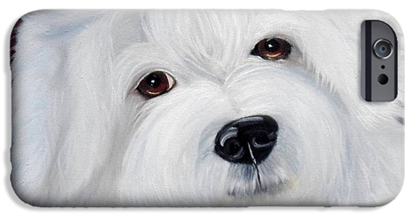 Puppies iPhone Cases - Cute Bichon iPhone Case by Debbie LaFrance