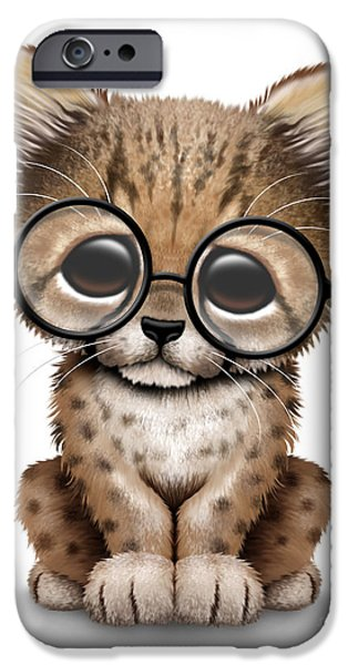 Cheetah Digital Art iPhone Cases - Cute Cheetah Cub Wearing Glasses iPhone Case by Jeff Bartels