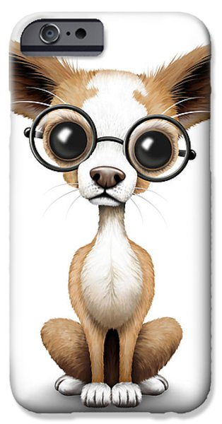 Puppy Digital iPhone Cases - Cute Chihuahua Puppy Wearing Eye Glasses iPhone Case by Jeff Bartels
