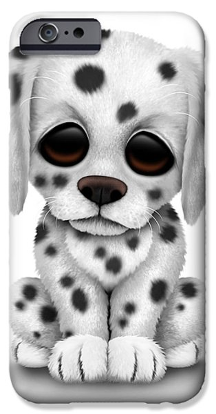Puppy Digital iPhone Cases - Cute Dalmatian Puppy Dog iPhone Case by Jeff Bartels