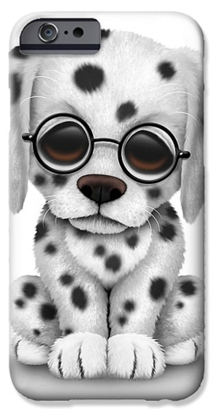 Puppy Digital Art iPhone Cases - Cute Dalmatian Puppy Dog Wearing Eye Glasses iPhone Case by Jeff Bartels