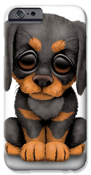 Puppy Digital iPhone Cases - Cute Doberman Puppy Dog iPhone Case by Jeff Bartels