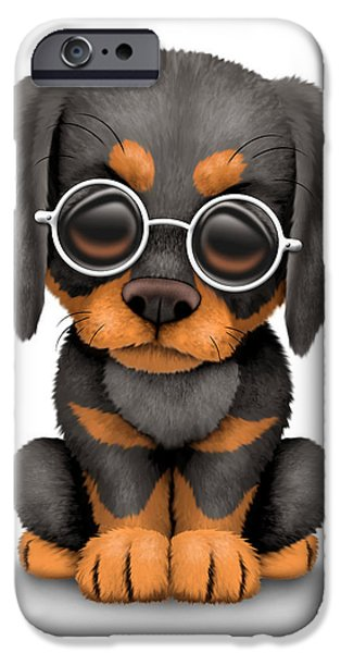 Puppy Digital iPhone Cases - Cute Doberman Puppy Dog Wearing Eye Glasses iPhone Case by Jeff Bartels