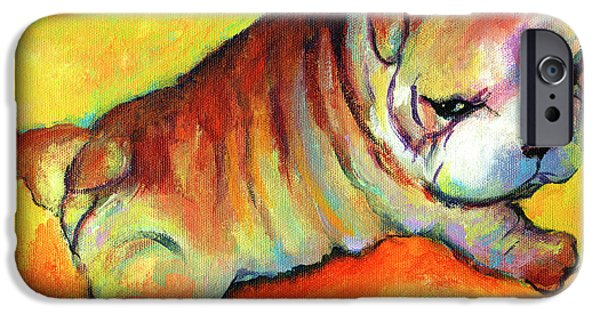 Merchandise iPhone Cases - Cute English Bulldog puppy dog painting iPhone Case by Svetlana Novikova
