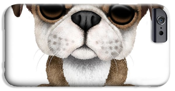 Puppy Digital iPhone Cases - Cute English Bulldog Puppy  iPhone Case by Jeff Bartels
