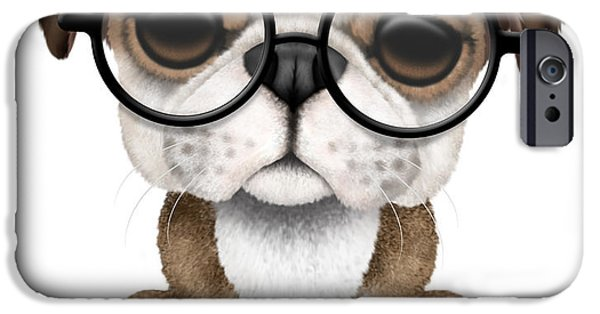 Puppy Digital iPhone Cases - Cute English Bulldog Puppy Wearing Glasses iPhone Case by Jeff Bartels