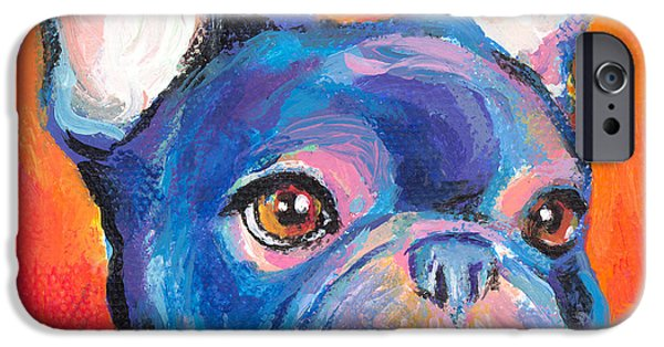 Whimsical. Paintings iPhone Cases - Cute French bulldog painting prints iPhone Case by Svetlana Novikova