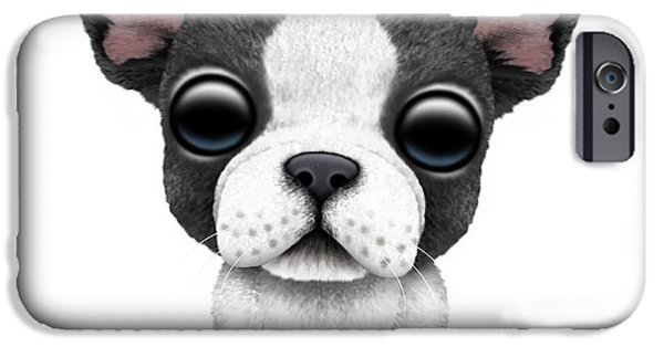 Puppy Digital iPhone Cases - Cute French Bulldog Puppy  iPhone Case by Jeff Bartels